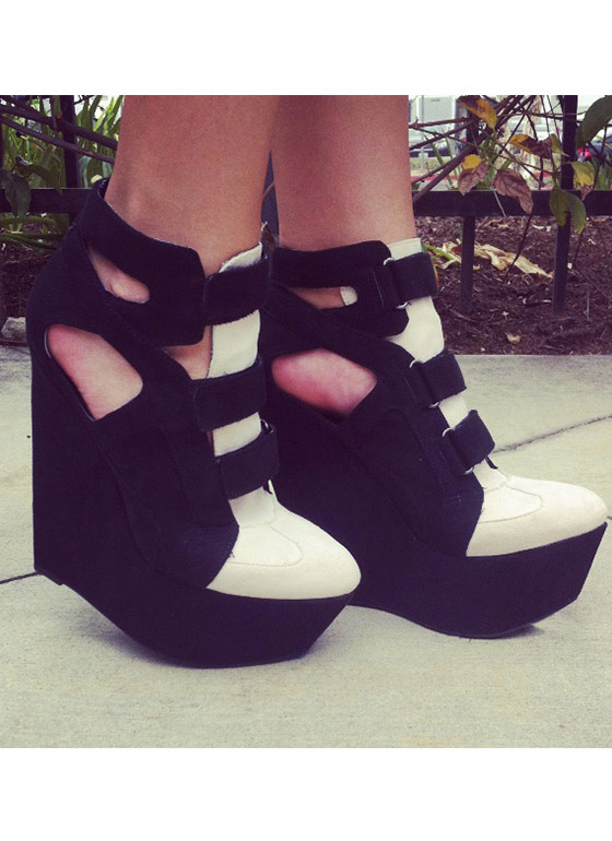Strapped In Sneaker Wedges BLACK