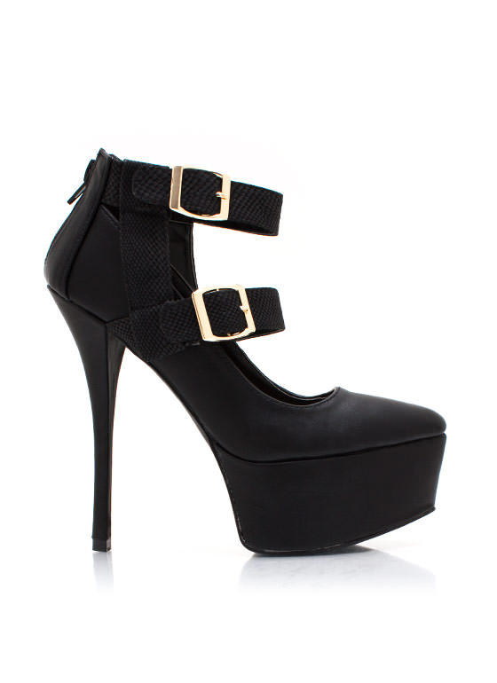 Cold Blooded Buckle Pumps BLACK