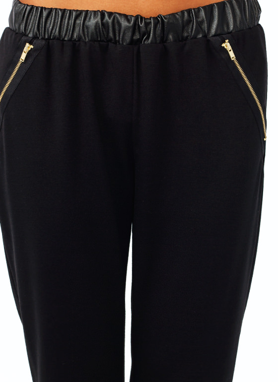 Zipping Around Track Pants BLACK