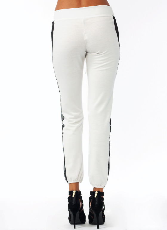 Mesh Striped Track Pants WHITE