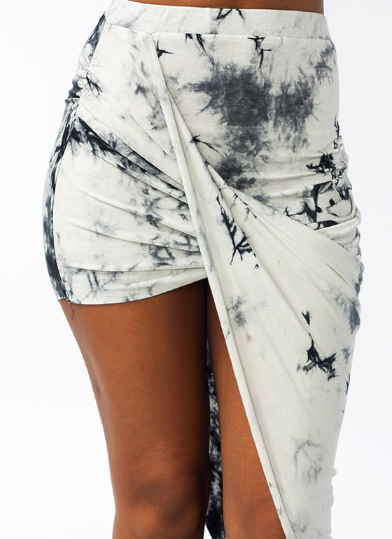 Tie-Dye Draped Skirt IVORYBLACK