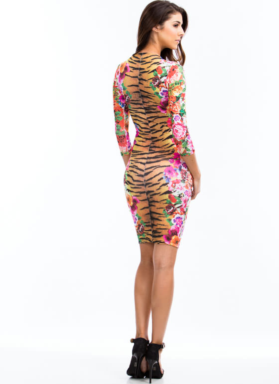 Fierce Floral Midi Dress PINKRED