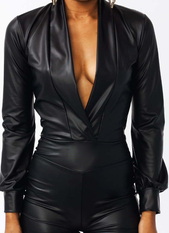Bad Girl Faux Leather Romper BLACK