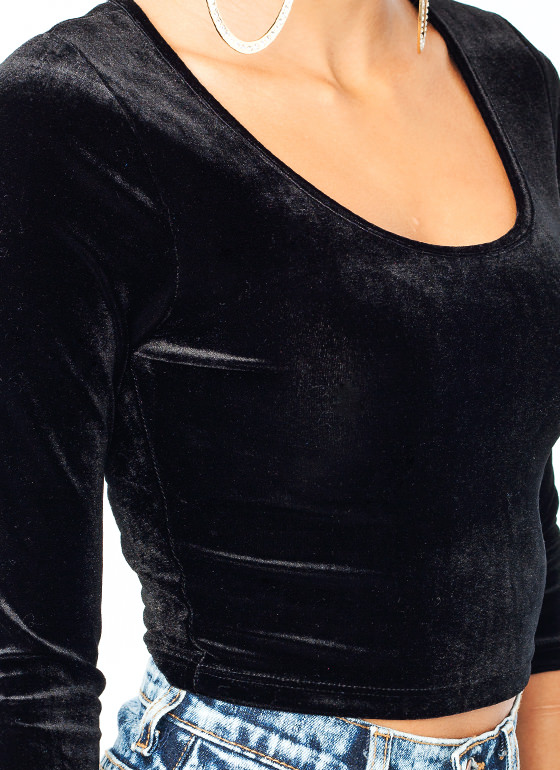 Velvet Cropped Top BLACK