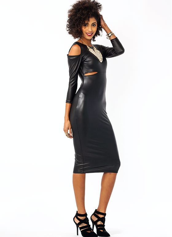 Cold Shoulder Faux Leather Dress BLACK