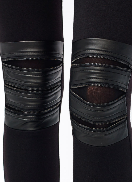 Zipped Moto Leggings BLACK