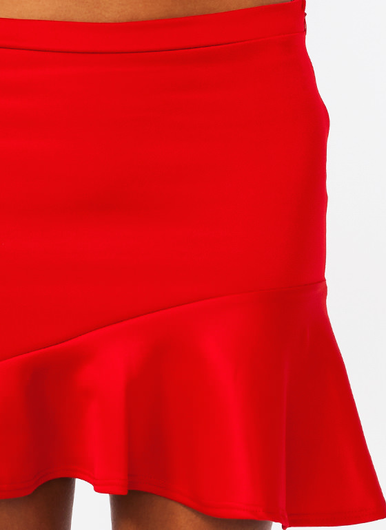 $2 Asymmetrical Trumpet Skirt RED