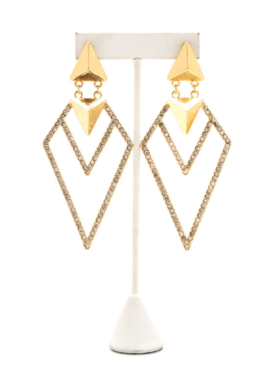 Diamond Cut Out Earrings GOLD