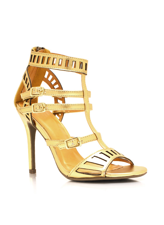 Metallic Laser Cut Out Heels GOLD