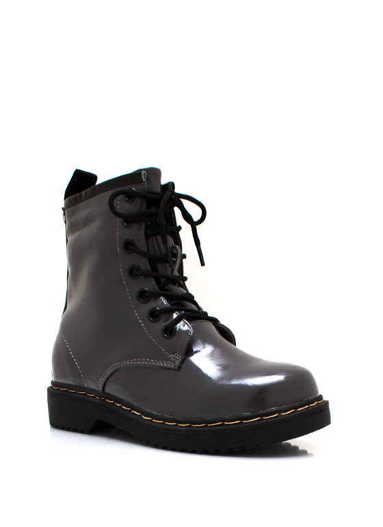 In Full Combat Boots GREY