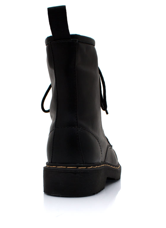 Full Combat Faux Leather Boots BLACK