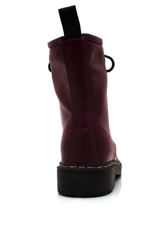 Full Combat Faux Leather Boots BURGUNDY