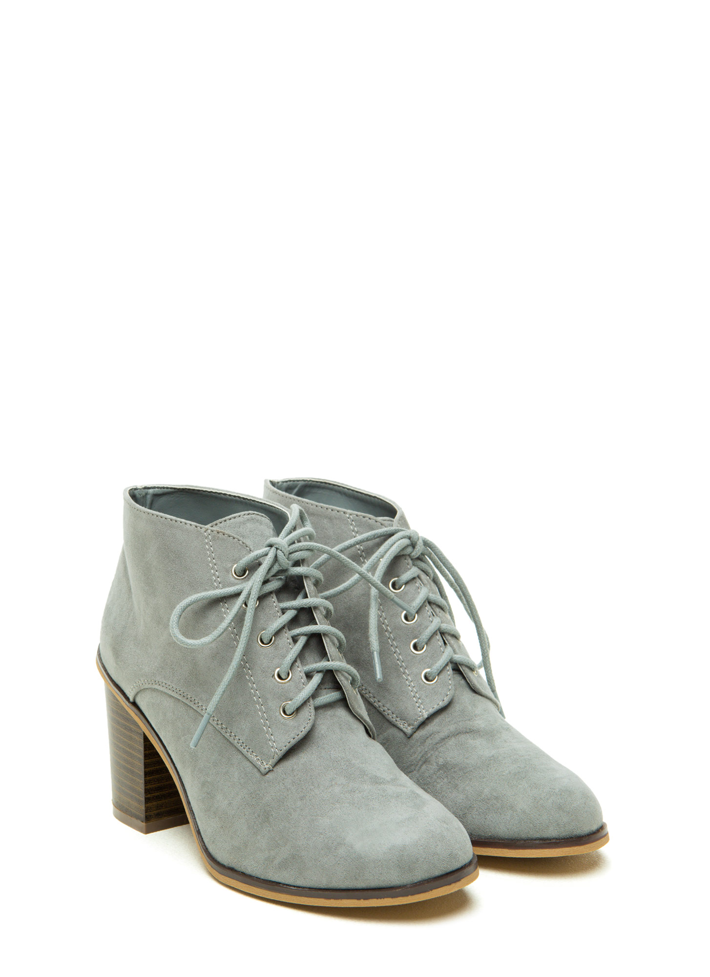 Stompin' Faux Suede Chunky Booties ASHGREY