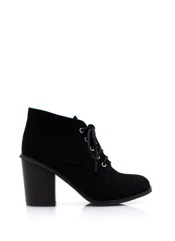 Faux Suede Chunky Booties BLACK