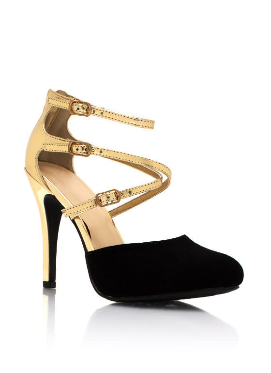 So Strappy Together Contrast Heels BLACKGOLD