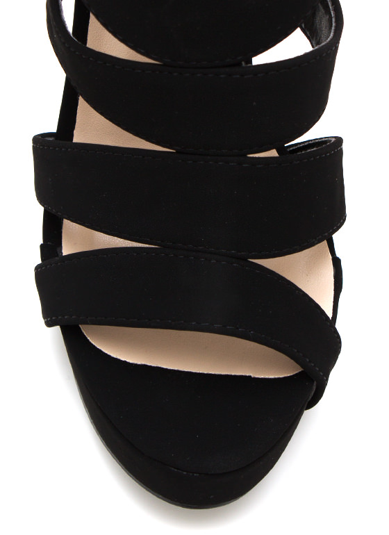 Strappy Hour Platform Heels BLACK