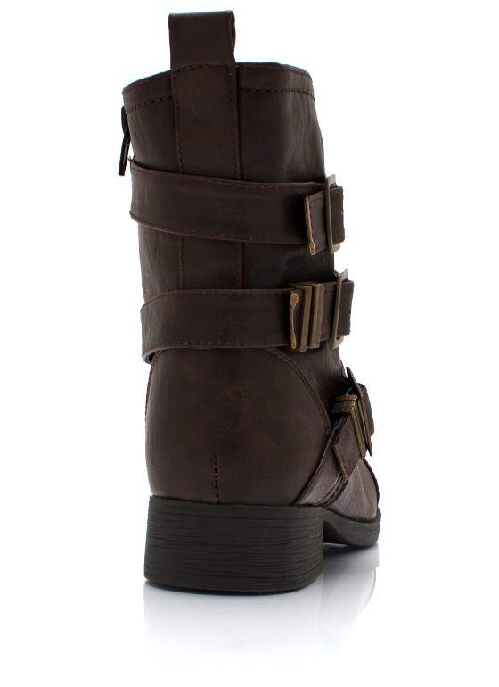 Stud Y Group Buckled Moto Boots BROWN