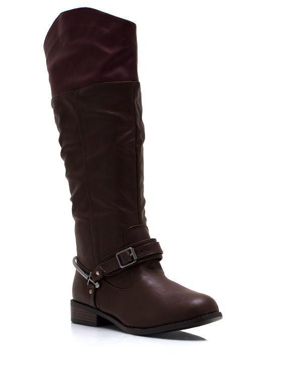 Contrast Buckled Riding Boots BROWN