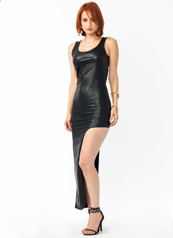 Getting Leggy Faux Leather Dress BLACK