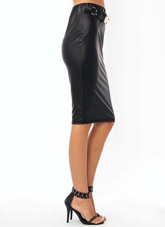Sexy Back Belted Pencil Skirt BLACK