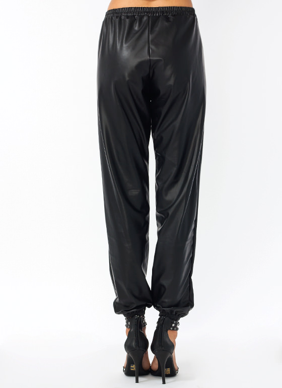 Faux Leather Drawstring Track Pants BLACK