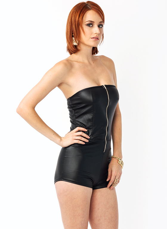 Like A Glove Zipper Romper BLACK