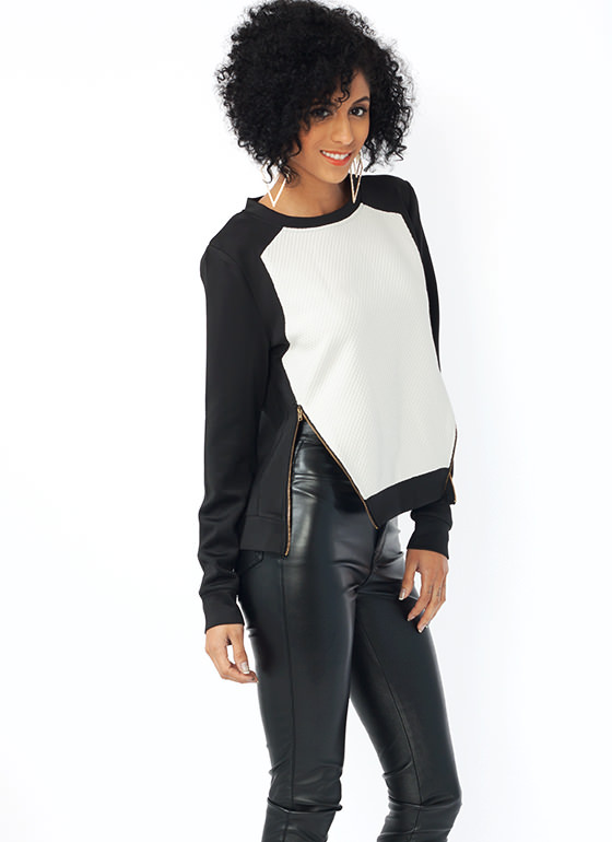 Mix Up Zippered Sweater Top OWHITEBLK