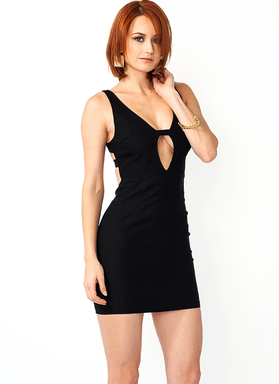 Ladder Back Bodycon Dress BLACK