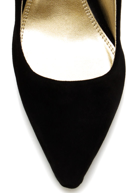 Velvet Metallic Stiletto Pumps BLACK