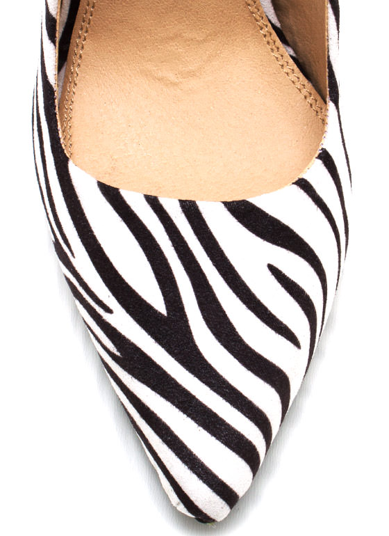 Zebra Faux Suede Stiletto Pumps ZEBRA