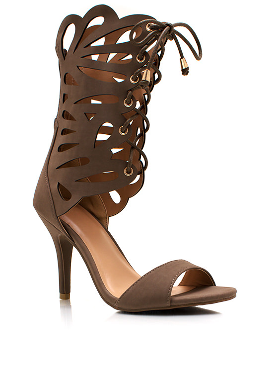 Lace Me Up Butterfly Heels DKTAUPE