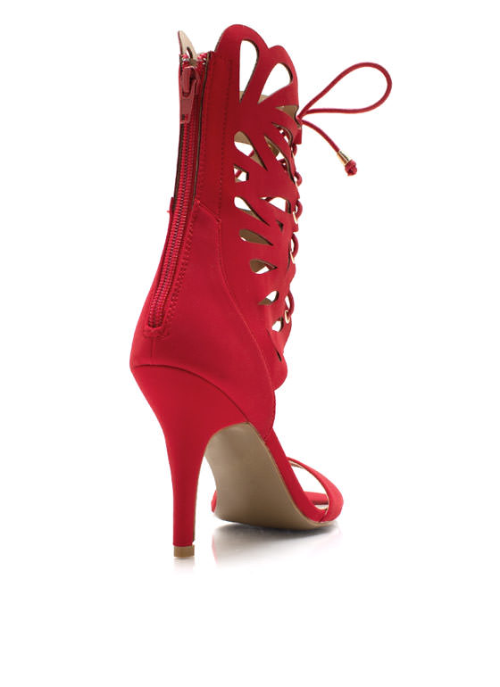 Lace Me Up Butterfly Heels RED