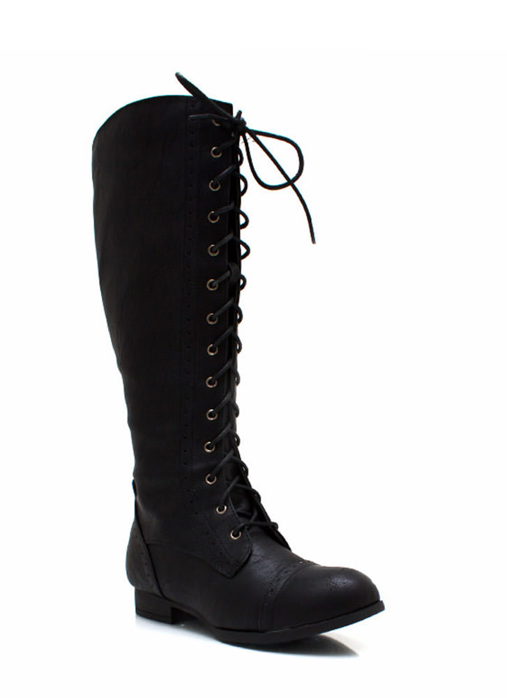 Stand Tall Lace Up Boots BLACK