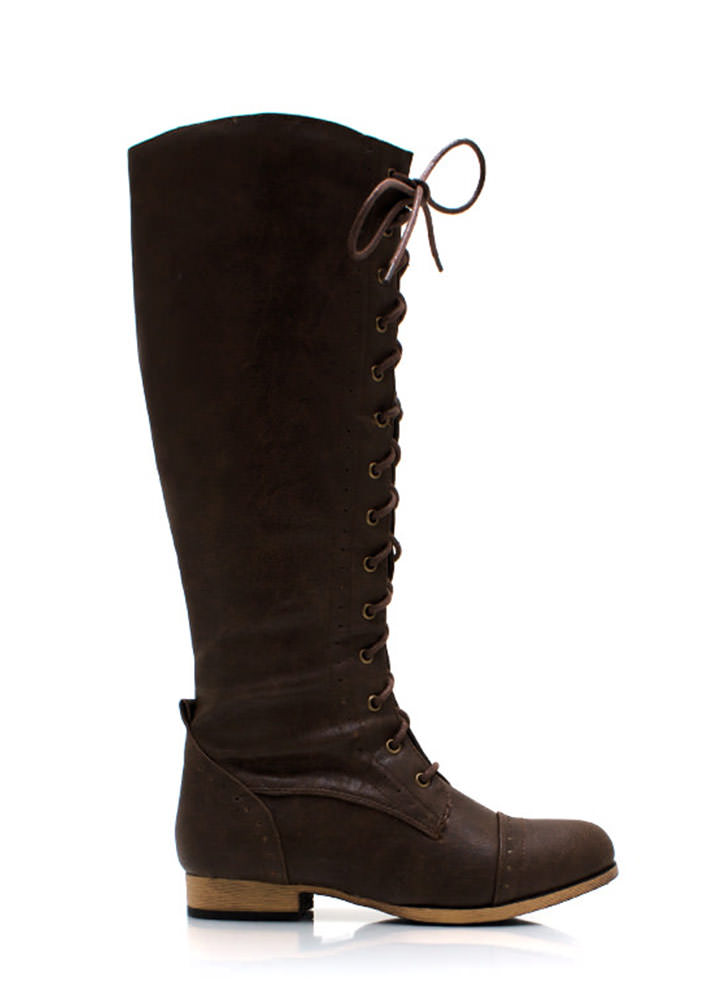 Stand Tall Lace Up Boots BROWN