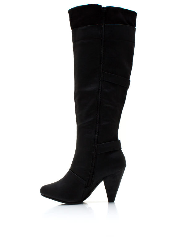 Just A Trim Buckled Boots BLACK