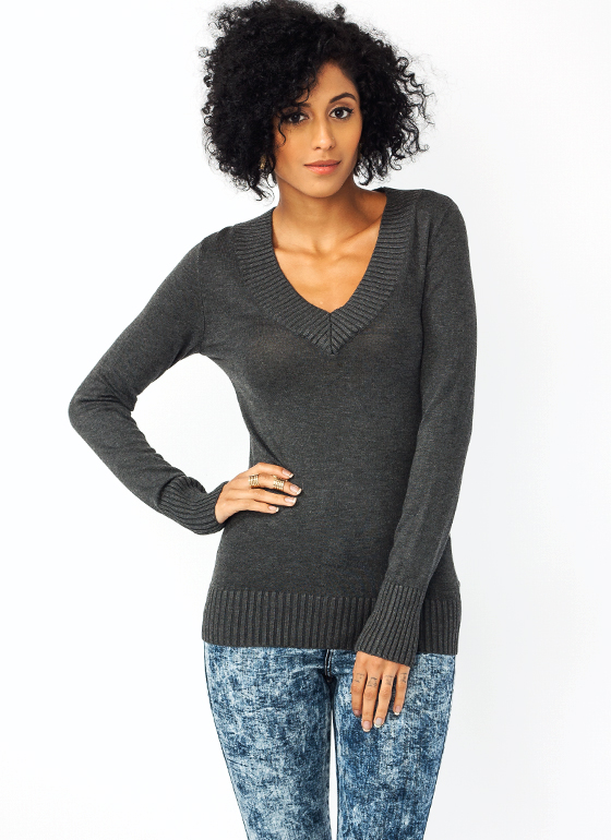Ribbed V Neck Sweater CHARCOAL