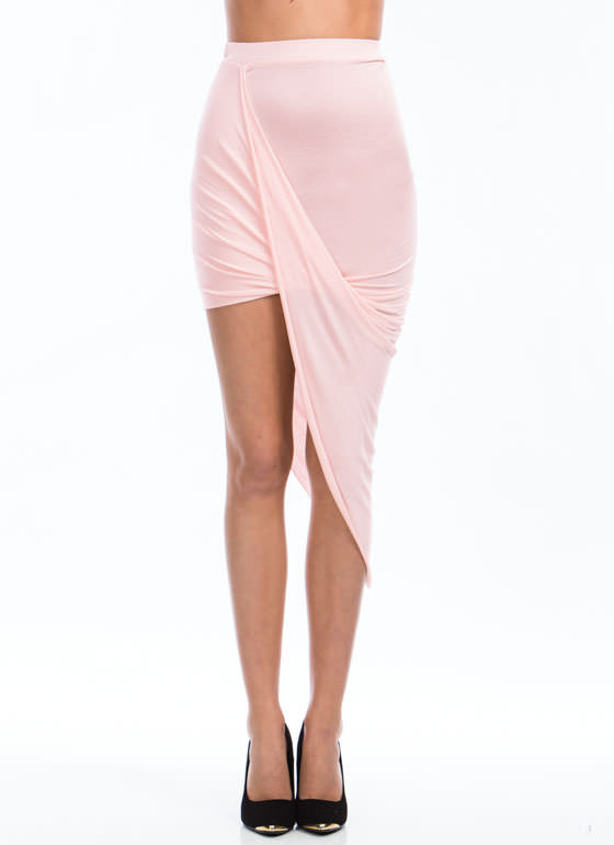 Drape Up Asymmetrical Skirt BLUSH