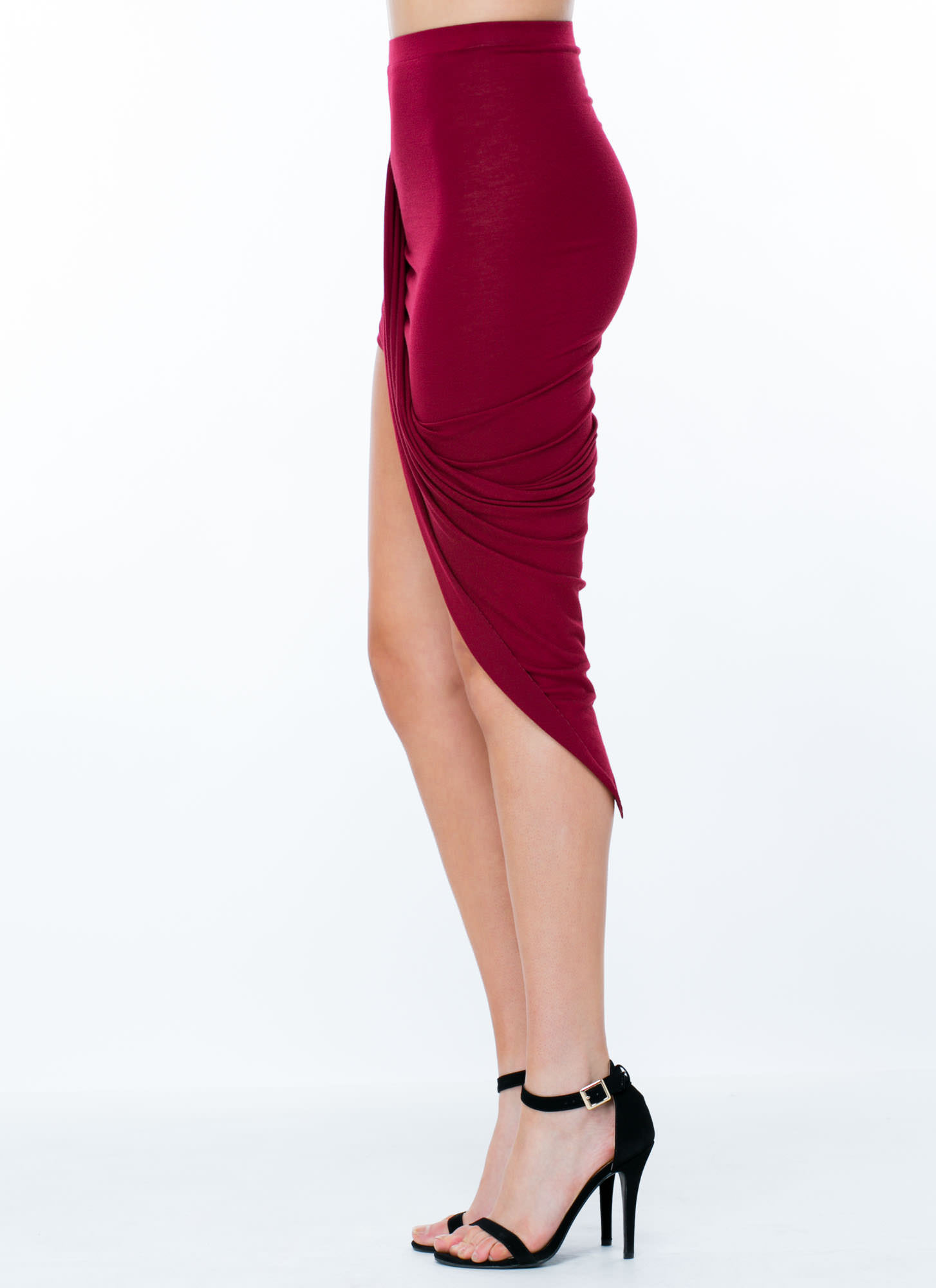 Drape Up Asymmetrical Skirt BURGUNDY