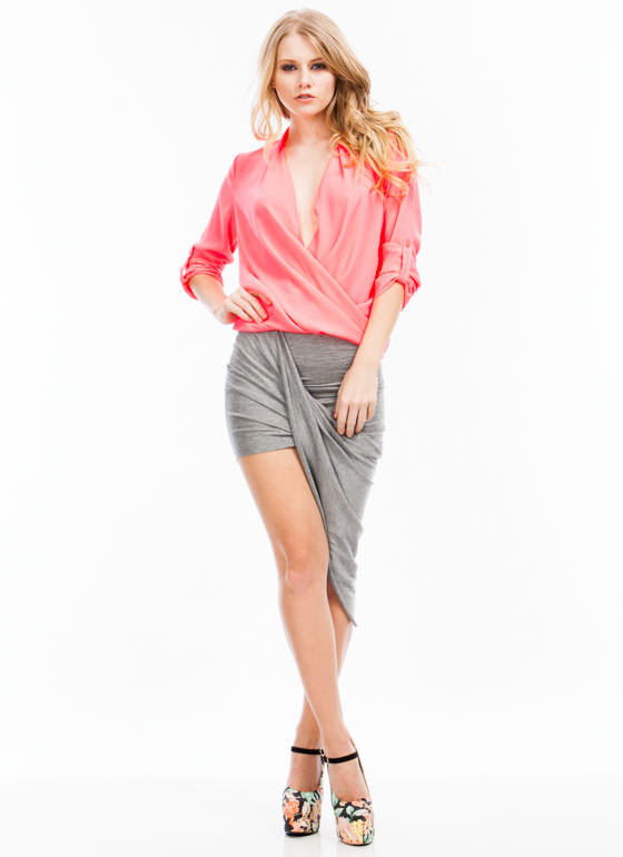 Drape Up Asymmetrical Skirt HGREY