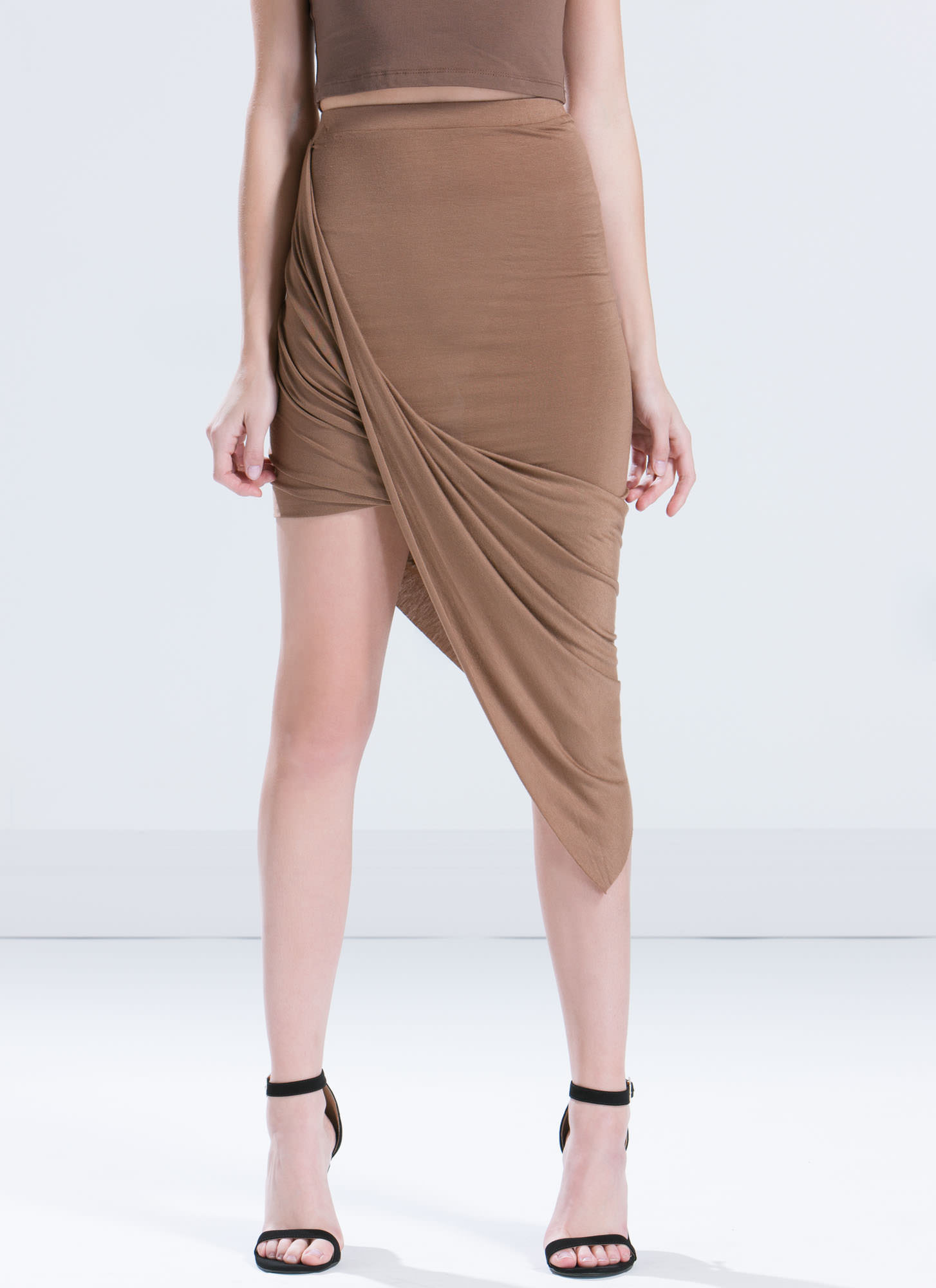 Drape Up Asymmetrical Skirt MOCHA