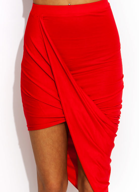 Drape Up Asymmetrical Skirt RED