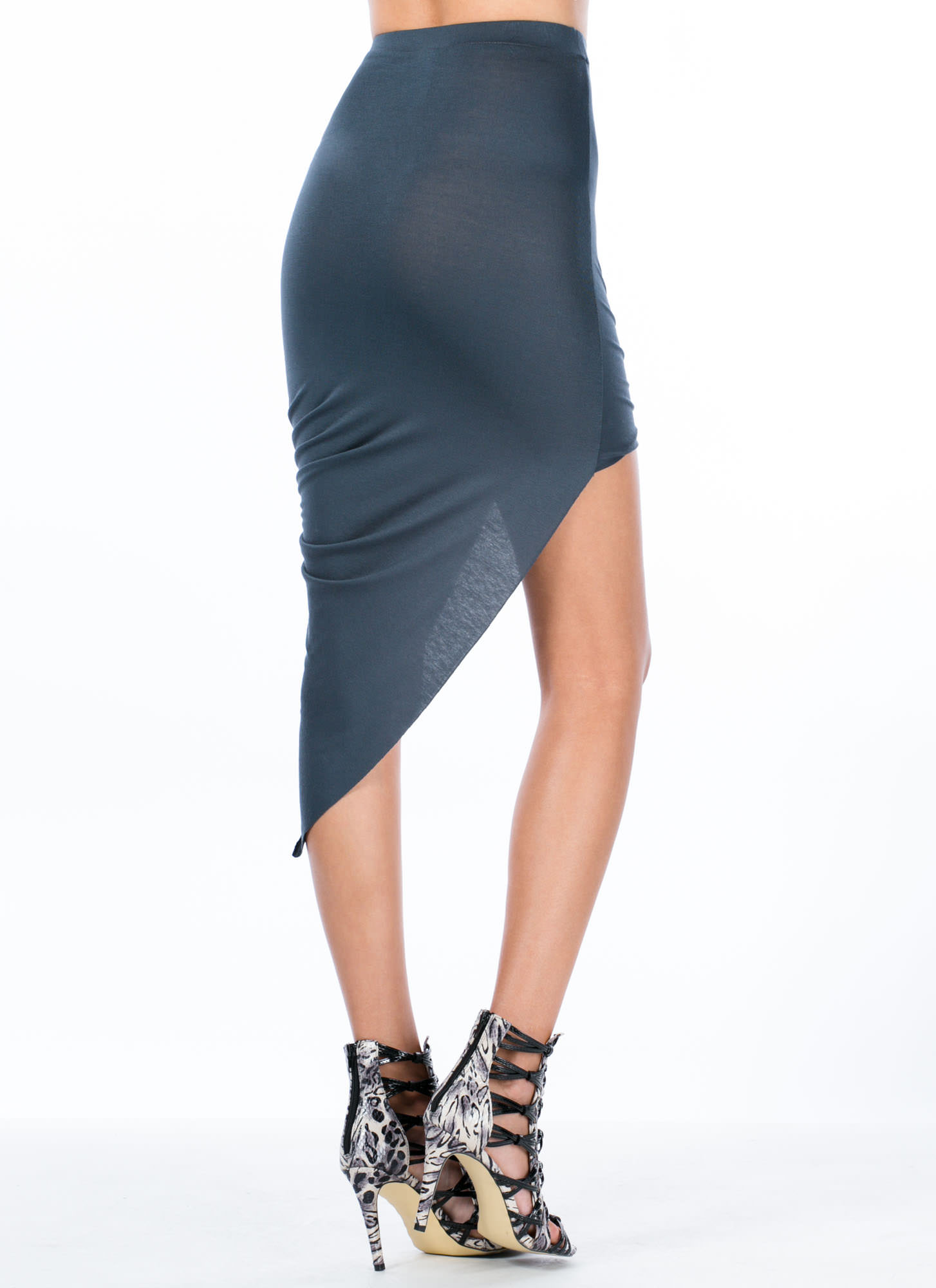 Drape Up Asymmetrical Skirt SLATE