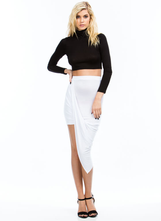 Drape Up Asymmetrical Skirt WHITE