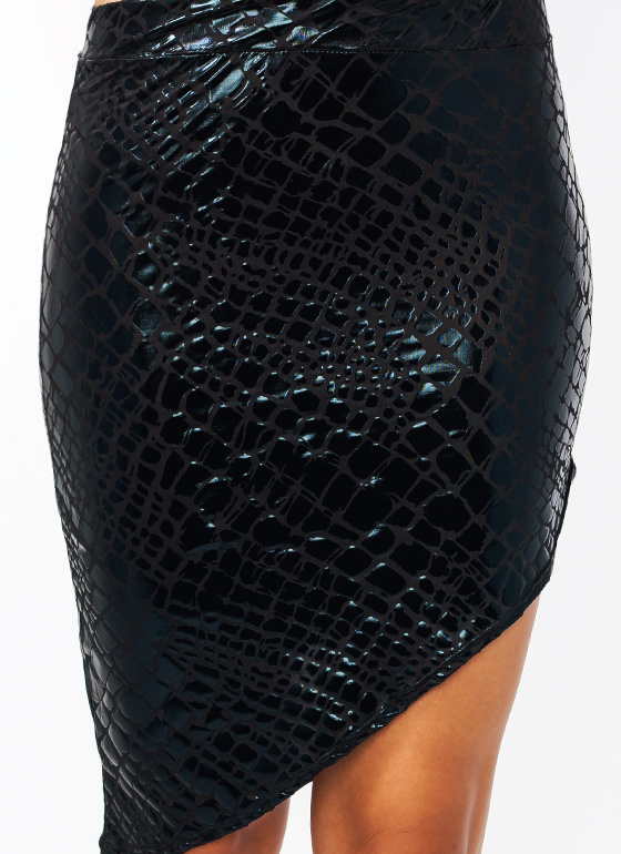 Slithering Asymmetrical Skirt BLACK