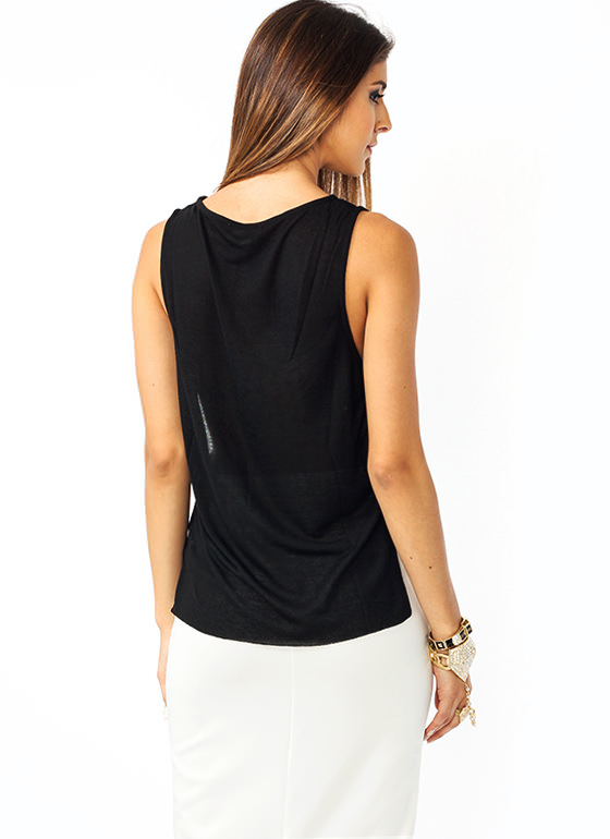 Sidestepping Strappy Tank BLACK