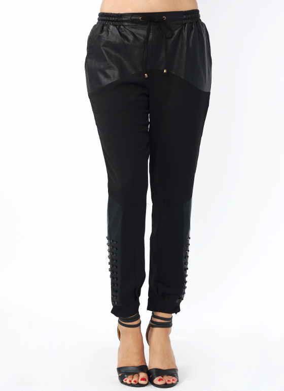 Mixed Up Studded Lounge Pants BLACK