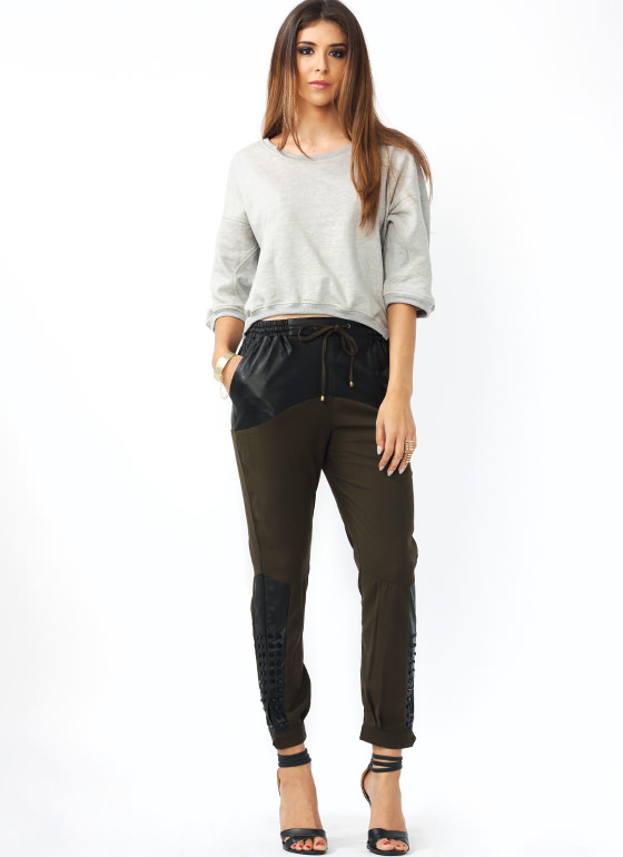 Mixed Up Studded Lounge Pants OLIVE