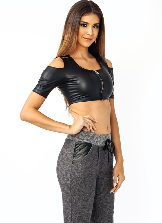 Moto Power Cold Shoulder Top BLACK