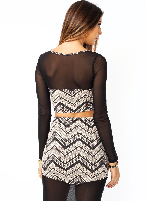Mesh Around Chevron Cropped Top CREAMBLACK