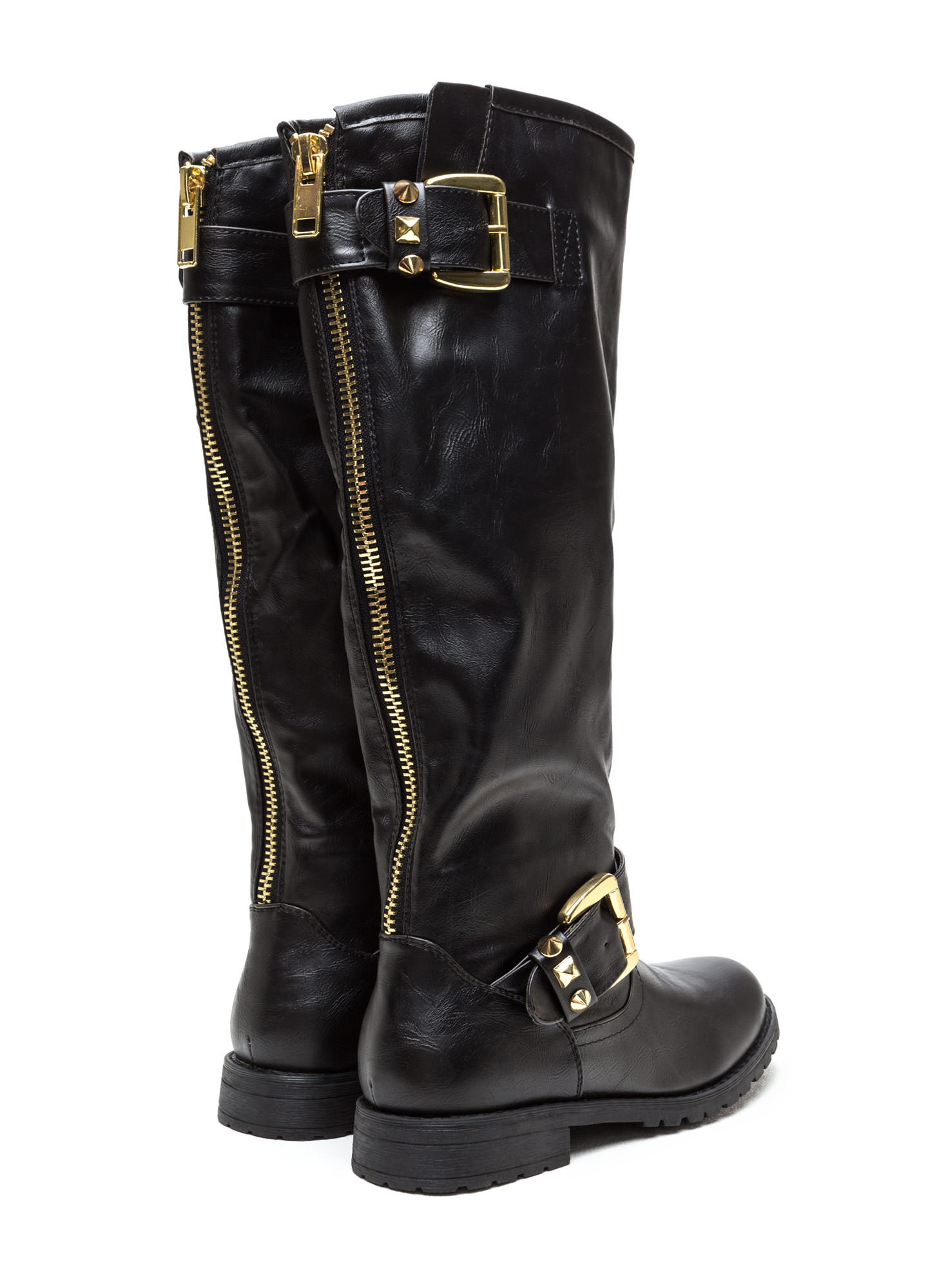 Studly Double Buckle Boots BLACK